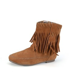 Women's Suede Flat Heel Boots Ankle Boots With Tassel Others shoes