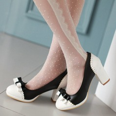 Women's Leatherette Chunky Heel Pumps Closed Toe With Bowknot Split Joint shoes