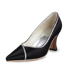 Women's Satin Spool Heel Closed Toe With Rhinestone