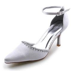 Women's Satin Stiletto Heel Closed Toe Pumps With Rhinestone
