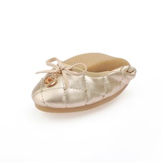 Leatherette Flat Heel Flats With Bowknot Sequin shoes